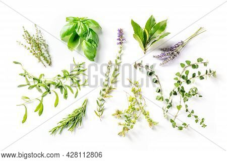 Herbes De Provence With Lavender, Traditional French Aromatic Herbs, Shot From The Top On A White Ba