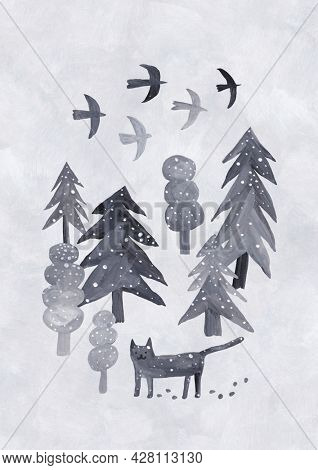Cute winter forest. . Snowy landscape, fir trees, trees and a wild cat. Gray background.