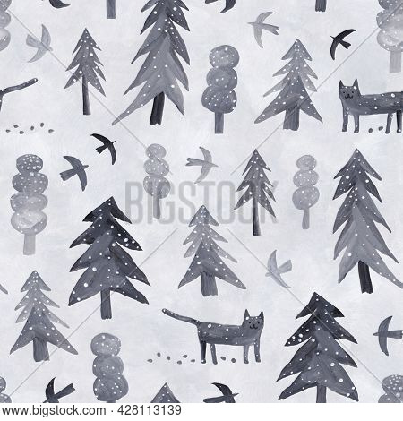 Cute winter landscape. Gouache illustration. Snow-covered fir trees, trees, a wild cat and birds.