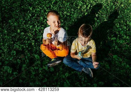 Kid Boys Eating Ice Cream On Grass.