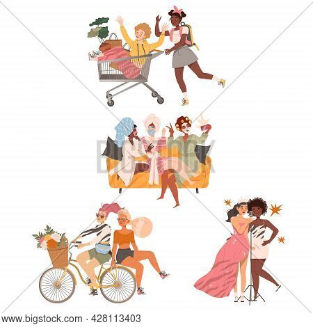 Female Friends Spending Time Together Karaoke Singing, Riding Bicycle And Gossiping Vector Set