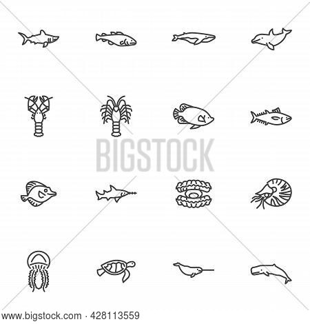 Sea Animals Line Icons Set, Outline Vector Symbol Collection, Marine Life Linear Style Pictogram Pac