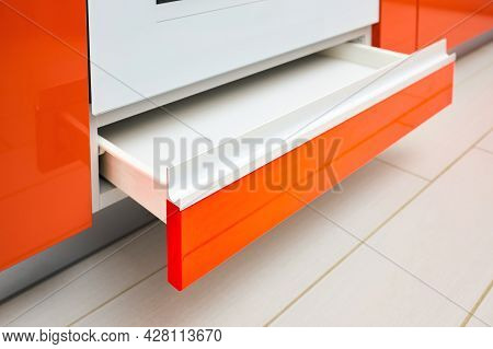 Drawer Under Oven. Maple Red Kitchen Drawer For Plates Or Dishes Shelf Cabinet Under Oven. Selective