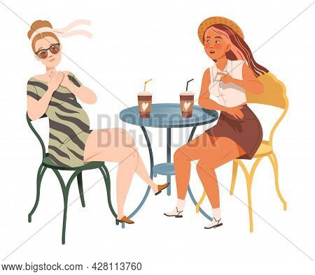 Female Friend Spending Time Together Sitting In Cafe, Drinking Coffee And Gossiping Vector Illustrat