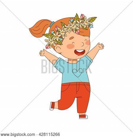 Cheerful Redhead Girl With Flower Wreath On Her Head Jumping With Joy Vector Illustration