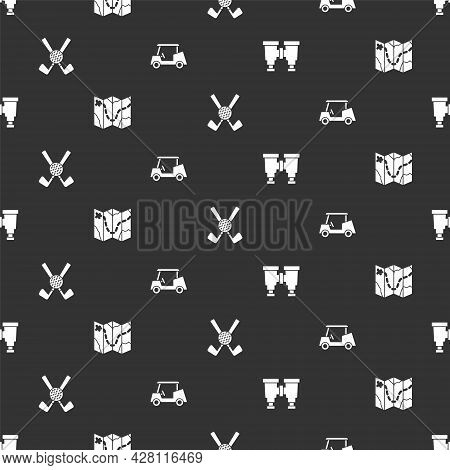 Set Binoculars, Golf Course Layout, Crossed Golf Club With Ball And Car On Seamless Pattern. Vector