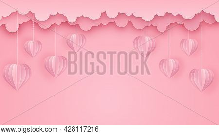 Paper Art And Craft Style Background With Hearts And Clouds. Cut Out Paper 3d Hearts Hanging On Chai