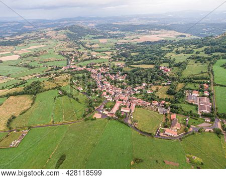 Aerial view on Olloix, small french village , Puy-de-Dome, Auvergne-rhone-alpes