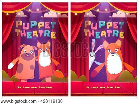 Puppet Theatre Posters With Dog, Rabbit And Fox Dolls. Vector Flyer With Cartoon Illustration Of The