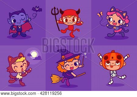 Kids In Cute Halloween Costume Ready For Party. Set Of Funny And Cute Kids In Halloween Mascot Costu