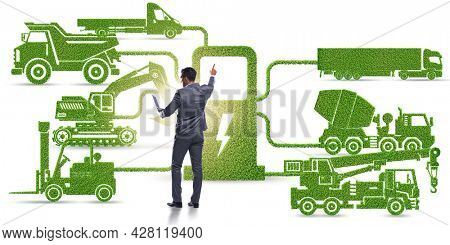 Businessman in the concept of electric charging and vehicles