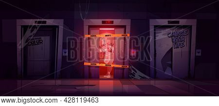 Old Dirty Hallway With Broken Elevator And Ghost At Night. Vector Cartoon Interior Of Dark Lobby Wit