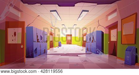 Old Dirty School Hallway With Broken Lockers, Doors To Classrooms, Trash Bins And Bulletin Board On