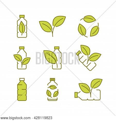 Recycle Plastic Bottle. Biodegradable Icons. Icons Of Plastic Bottle With Green Leaves. Eco Friendly