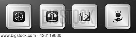 Set Peace, Scales Of Justice, Mourning Photo Frame And Coins On Hand - Minimal Wage Icon. Silver Squ