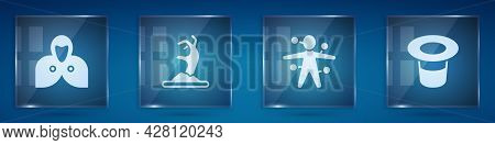 Set Mantle, Cloak, Cape, Zombie Hand, Voodoo Doll And Magic Hat. Square Glass Panels. Vector