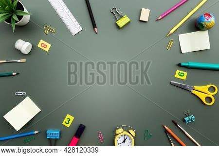 Back To School Conceptual Flat Lay With Different Office Supply Objects And Copy Space Area For Text