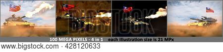 4 High Detail Illustrations Of Heavy Tank With Fictive Design And With Taiwan Province Of China Flag