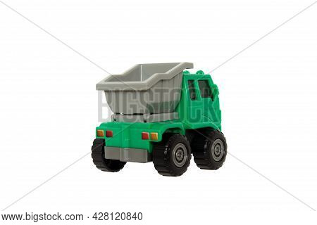 Toy Dump Truck For Kids To Play And Enhance Their Learning Green Truck With Gray Tray Isolated On A
