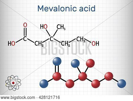 Mevalonic Acid, Mva, R-mevalonic Acid Molecule. It Is Precursor In The Mevalonate Pathway, Carboxyla