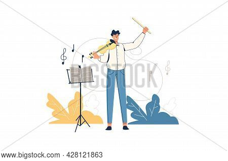 Creative Workers Web Concept. Musician Violinist Performs On Stage. Man Plays Violin, Composes Music