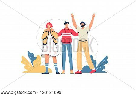 Happy People Standing Together Web Concept. Young Friends Embracing And Smiling. Men And Woman Greet