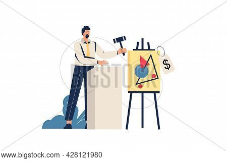 Auction Web Concept. Seller With Hammer Sells Painting At Auction, Investment In Artwork, Bargain Pu