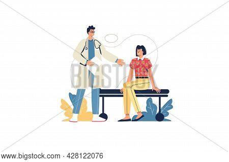 Medical Office Web Concept. Doctor Consults Patient, Diagnostics And Treatment Prescription. Woman V