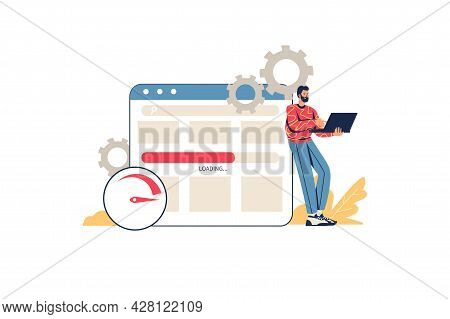 Optimize Website Web Concept. Man Designer Setting Up And Testing Site. Programmer Writes Code And M