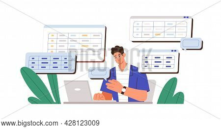 Man Working With Big Data And Databases, Using Laptop And Excel Tables. Office Worker Making Analysi