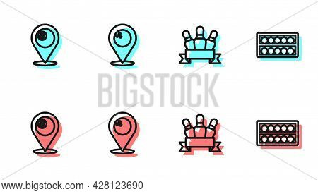 Set Line Bowling Pin, Location With Billiard Ball, Bowling And Billiard Balls Stand Icon. Vector