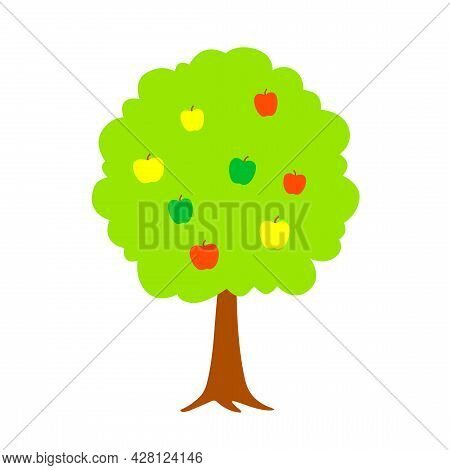 Stylized Apple Tree. Apple Tree With Yellow, Red And Green Apples In Flat Style. Simple Vector Illus