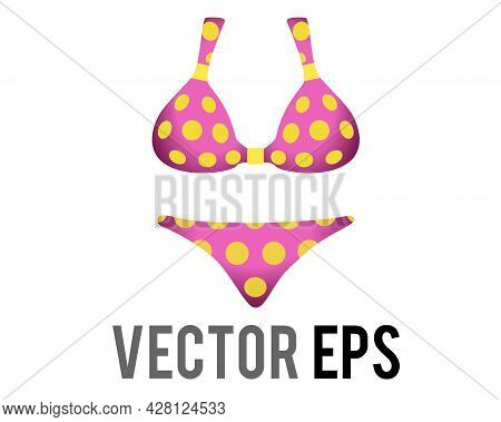 Vector Pink Two Piece Female Swimsuit Bikini Icon With Yellow Circle Dots Pattern