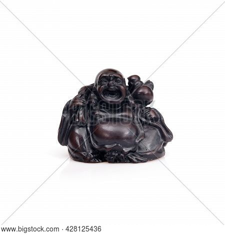 Figurine Of Japanese Deity Of Wealth, Fun And Happiness Isolated On White Background