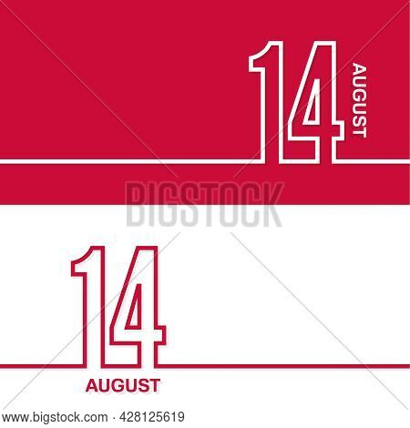 August 14. Set Of Vector Template Banners For Calendar, Event Date.