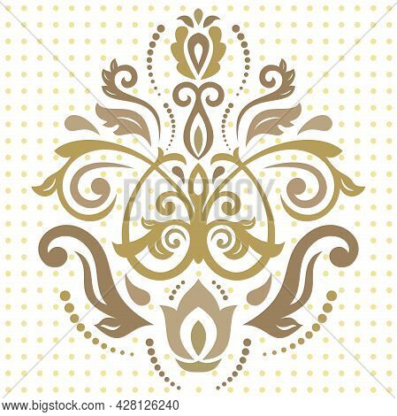Floral Vector Golden Pattern With Arabesques. Abstract Oriental Golden Ornament. Vintage Classic Pat