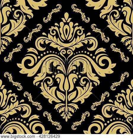 Classic Seamless Vector Pattern. Damask Orient Golden Ornament. Classic Vintage Background. Orient O