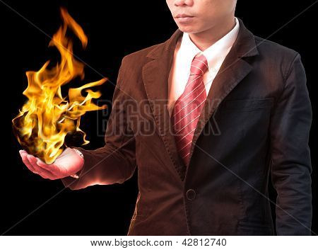 Business Man Holding  Fire Flaming On Hand