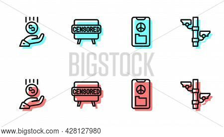 Set Line Peace, Coins On Hand - Minimal Wage, Censored Stamp And Security Camera Icon. Vector