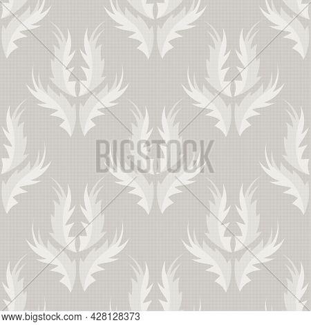 Stylized Flame Shape Leaf Seamless Vector Pattern Background. Light Ecru Beige And Cream White Beige