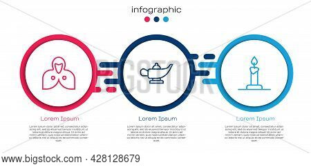 Set Line Mantle, Cloak, Cape, Magic Lamp Or Aladdin And Burning Candle Candlestick. Business Infogra