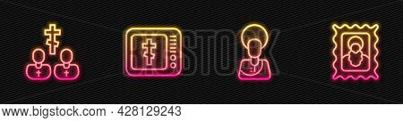 Set Line Jesus Christ, Priest, Online Church Pastor Preaching And Christian Icon. Glowing Neon Icon.
