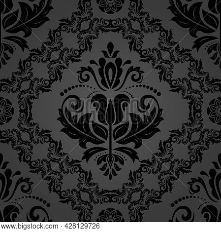 Classic Seamless Vector Dark Pattern. Damask Orient Ornament. Classic Vintage Dark Background. Orien