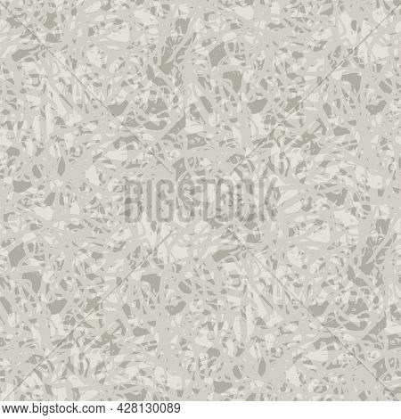 Abstract Lace Vector Seamless Pattern Background. Mottled Natural Ecru Beige Backdrop With Fibrous T