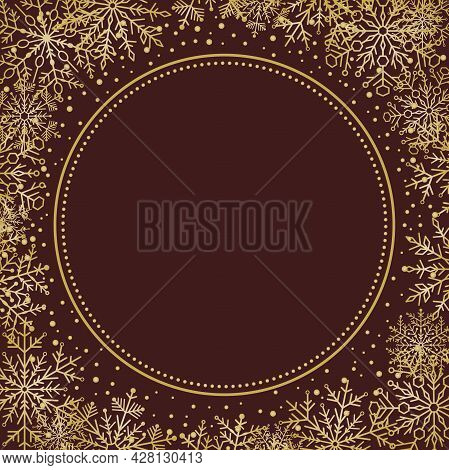 Winter Vector Frame With Golden Arabesques And Snowflakes. Golden Greeting Card. Pattern With Snowfl