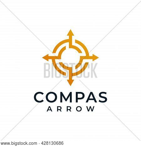 Compass Arrow Isolated Brand Logo Design Inspiration. Logo Can Be Used For Icon, Brand, Identity, Ou