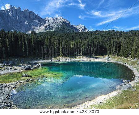 Carezza's Lake And Mount Latemar
