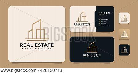 Monogram Line Real Estate Building Apartment Logo Design Elements For Industry Construction. Logo Ca