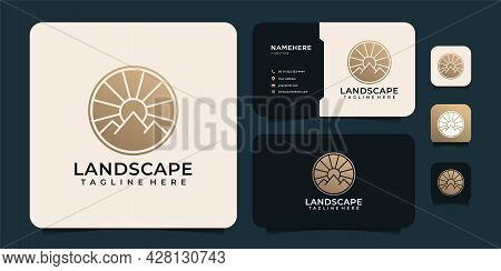 Landscape Minimalist Golden Mountain And Sun Logo Design Elements. Logo Can Be Used For Icon, Brand,