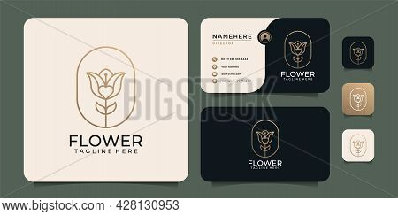 Beauty Lotus Rose Flower Logo Design Elements For Spa Nature Cosmetic. Logo Can Be Used For Icon, Br
